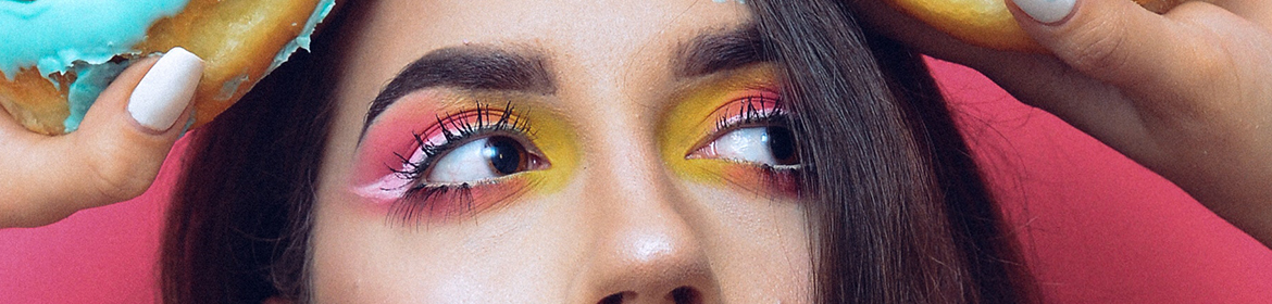 Colourful eye makeup close up