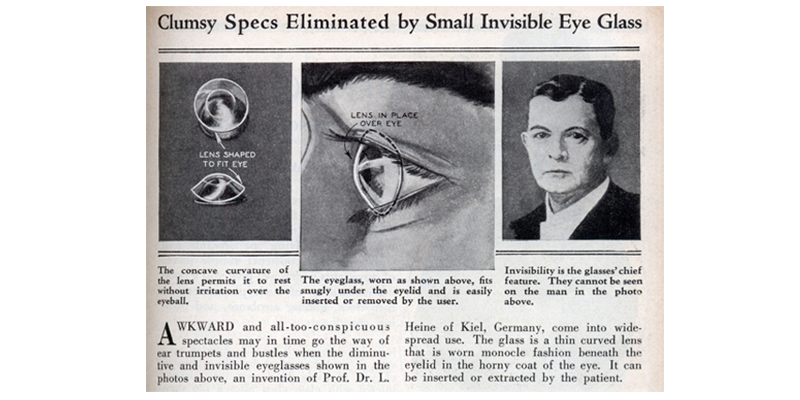 Early newspaper clipping of contact lens story