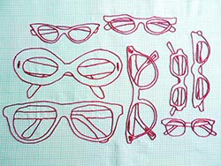 Sketch of different glasses frame shapes