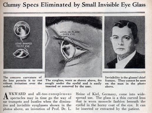 Old newspaper on glass contact lenses