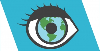 Illustrated eye with globe