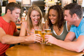 Young people drinking in a bar