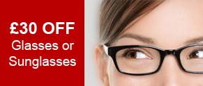 £30 Off Glasses or Sunglasses