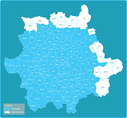 Map of postcodes for Sameday Delivery